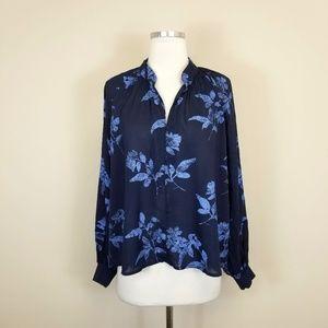 H&M LOGG Blue Floral Print Blouse Top